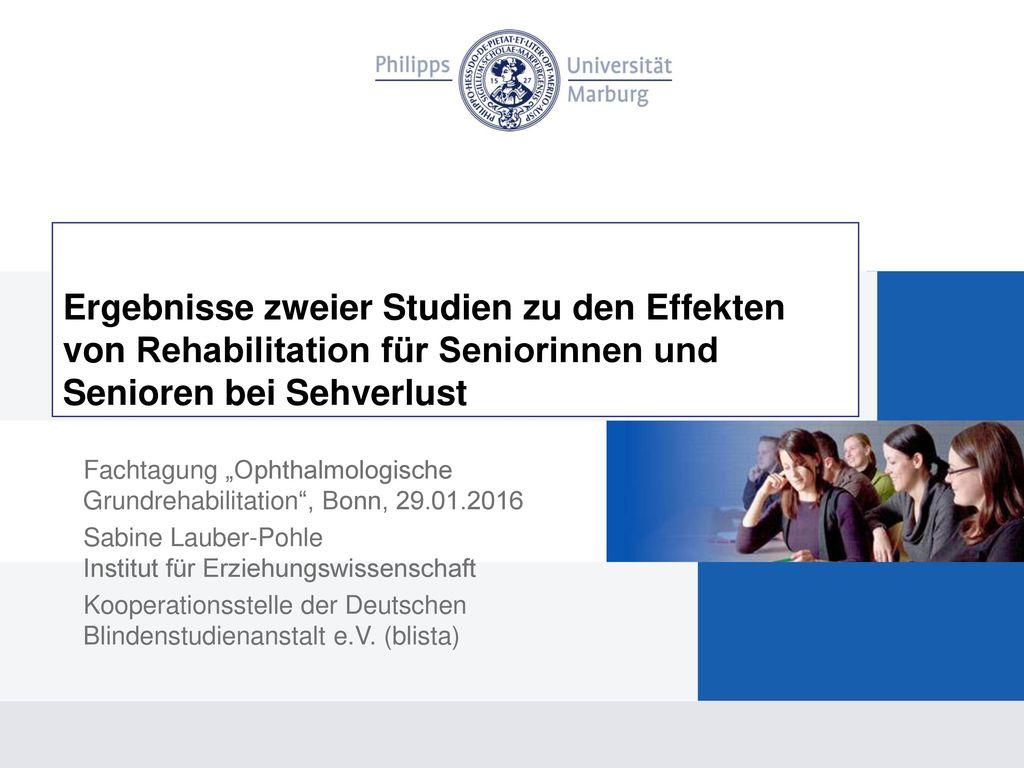 Ergebnisse zweier Studien zu den Effekten von Rehabilitation für Seniorinnen und Senioren bei Sehverlust