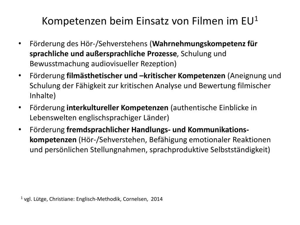 Kompetenzen beim Einsatz von Filmen im EU1