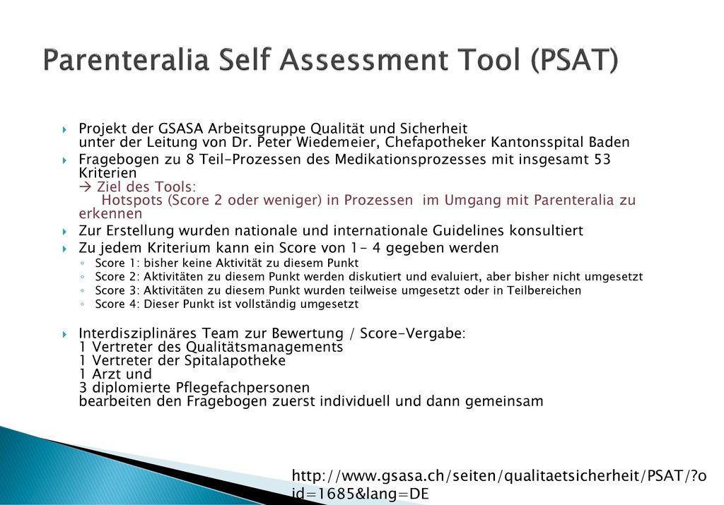 Parenteralia Self Assessment Tool (PSAT)