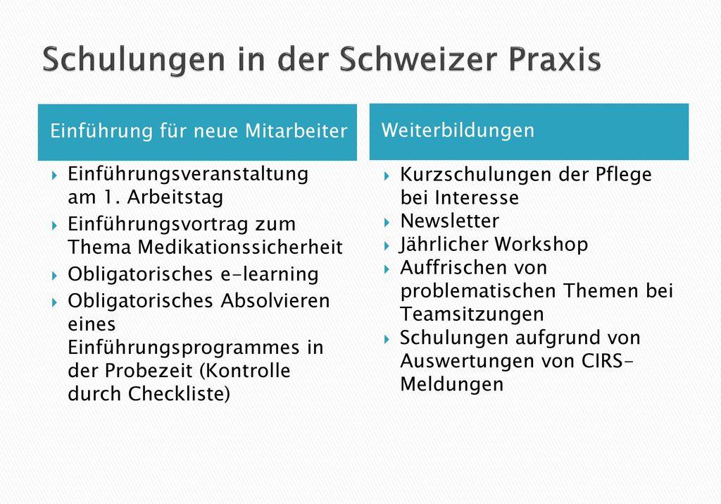 Schulungen in der Schweizer Praxis