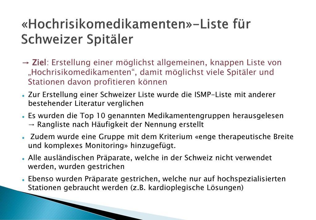 «Hochrisikomedikamenten»-Liste für Schweizer Spitäler