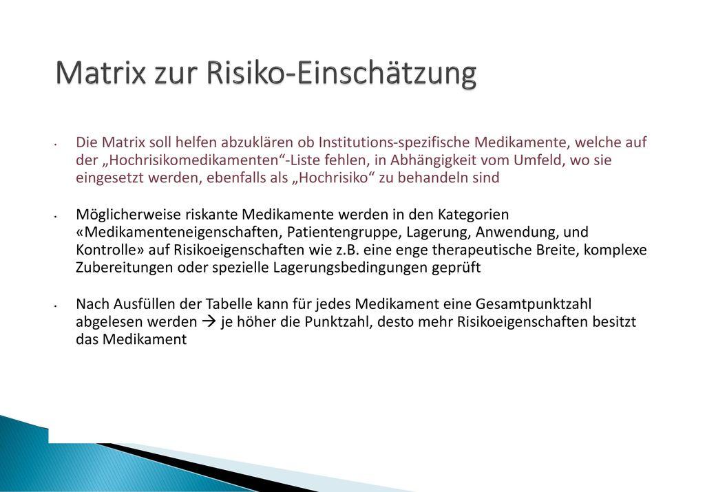 Matrix zur Risiko-Einschätzung
