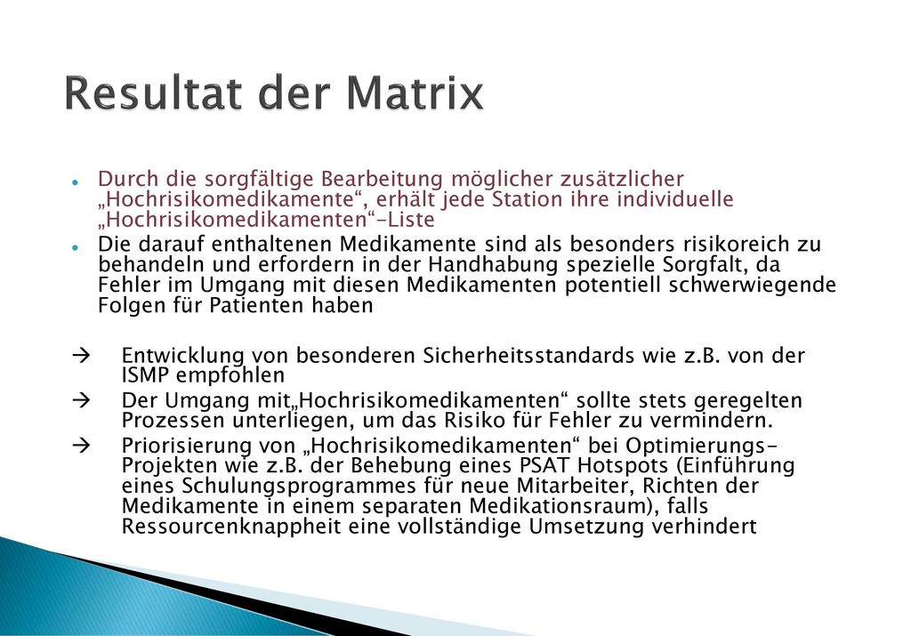 Resultat der Matrix