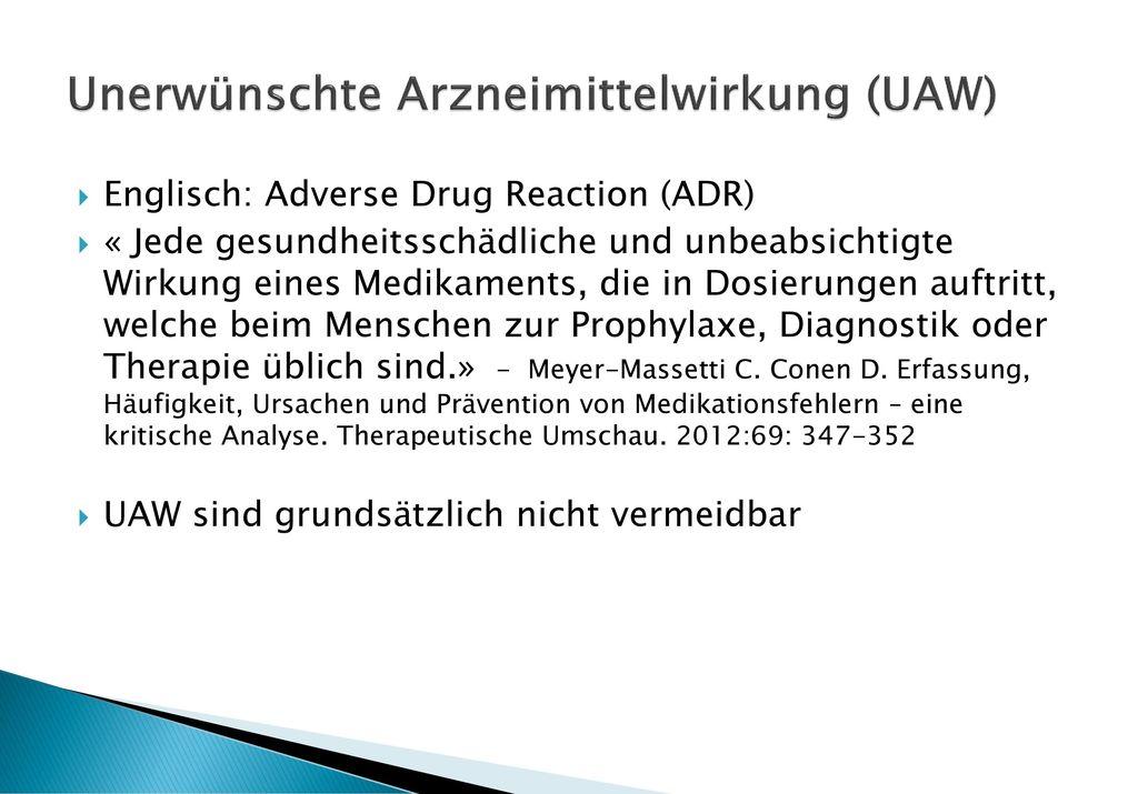 Unerwünschte Arzneimittelwirkung (UAW)