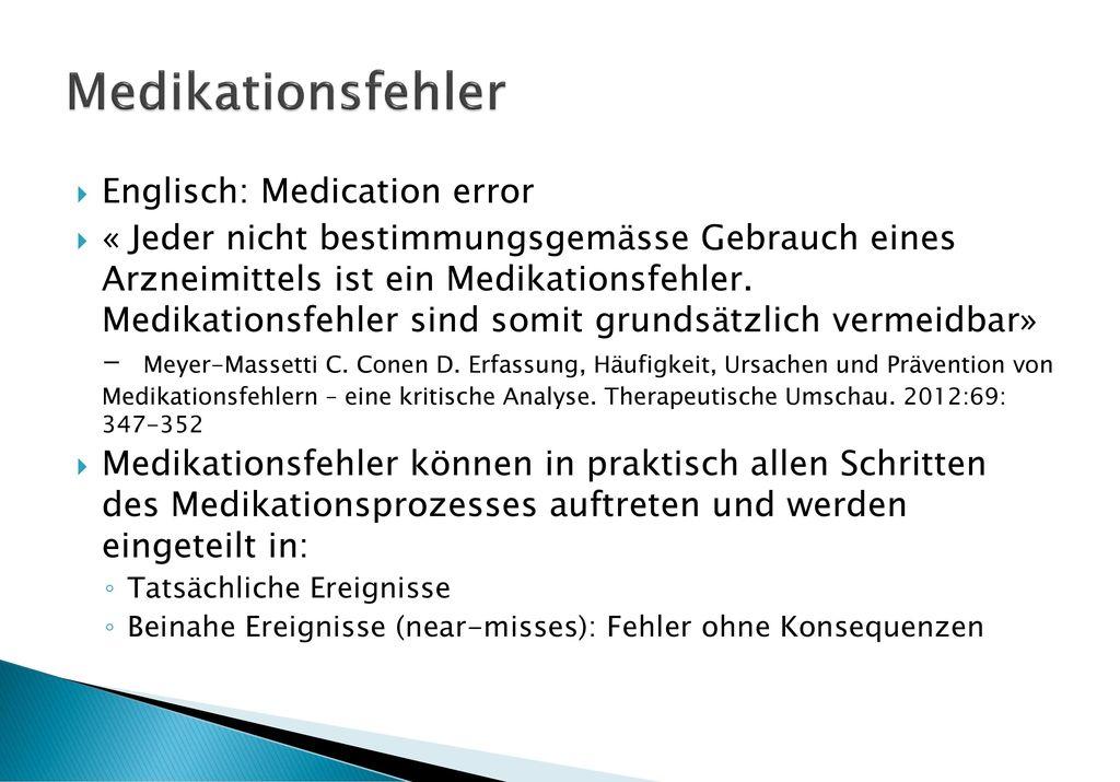 Medikationsfehler Englisch: Medication error