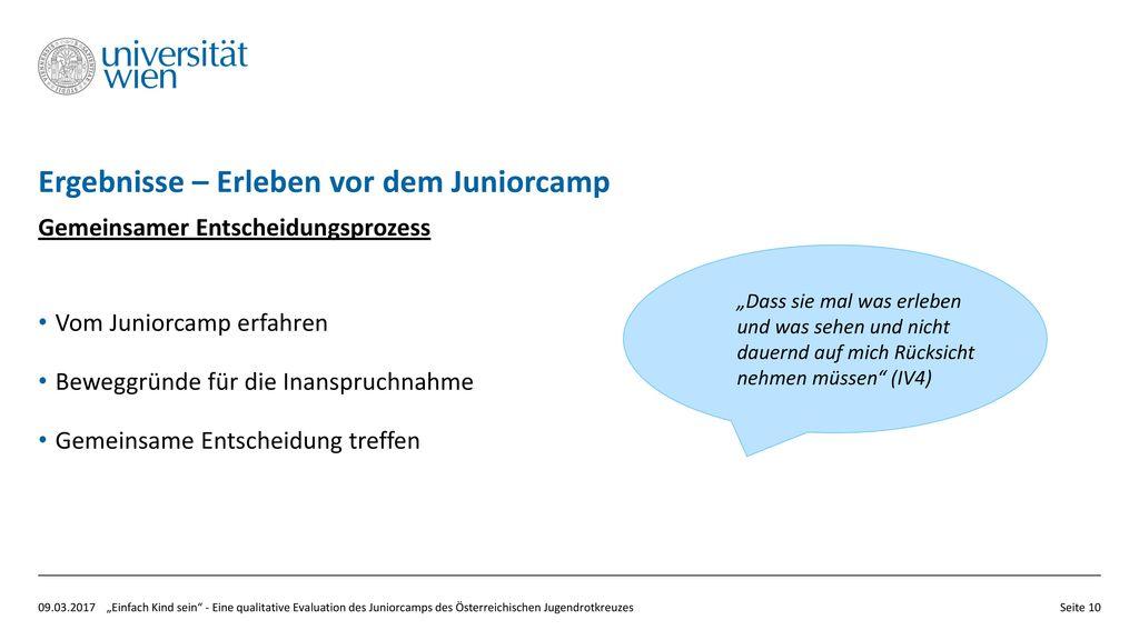 Ergebnisse – Erleben vor dem Juniorcamp