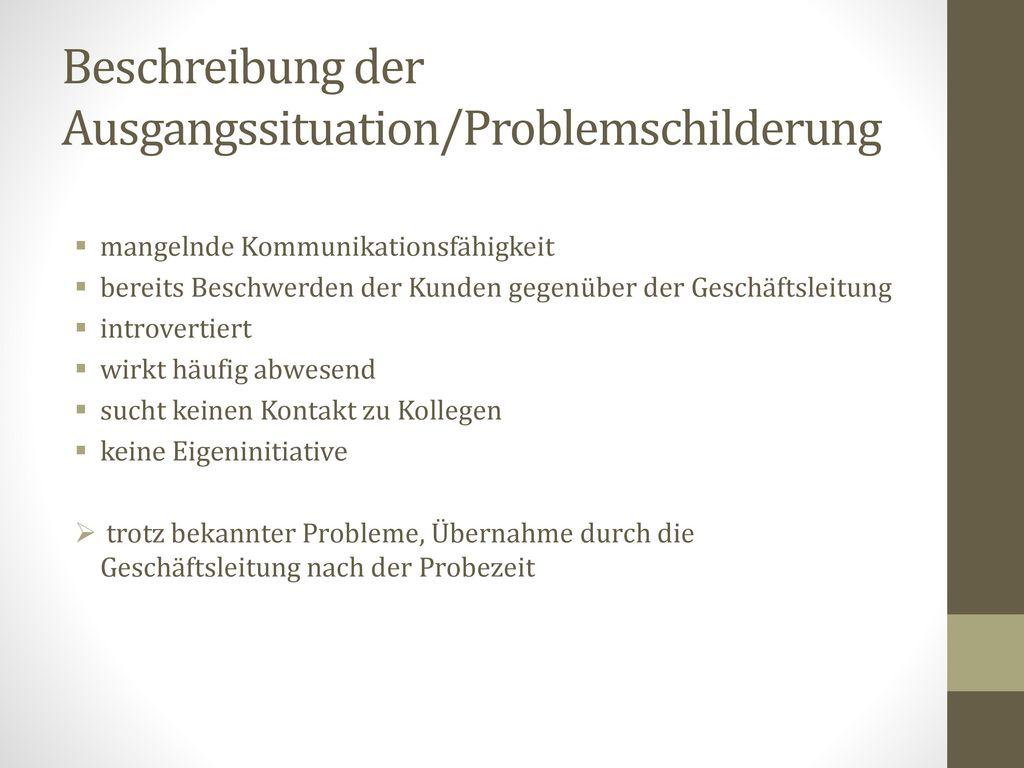 Beschreibung der Ausgangssituation/Problemschilderung