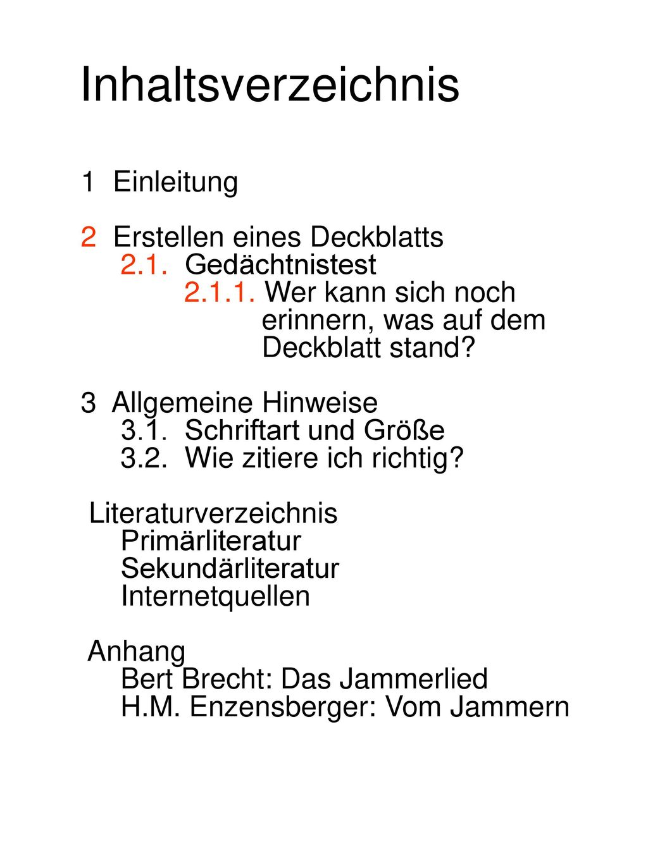 Inhaltsverzeichnis 1 Einleitung 2 Erstellen eines Deckblatts