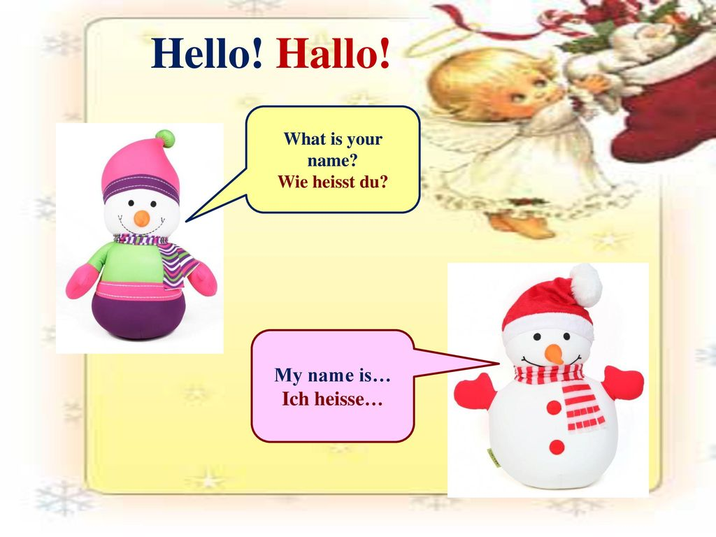 Hello! Hallo! My name is… Ich heisse… What is your name