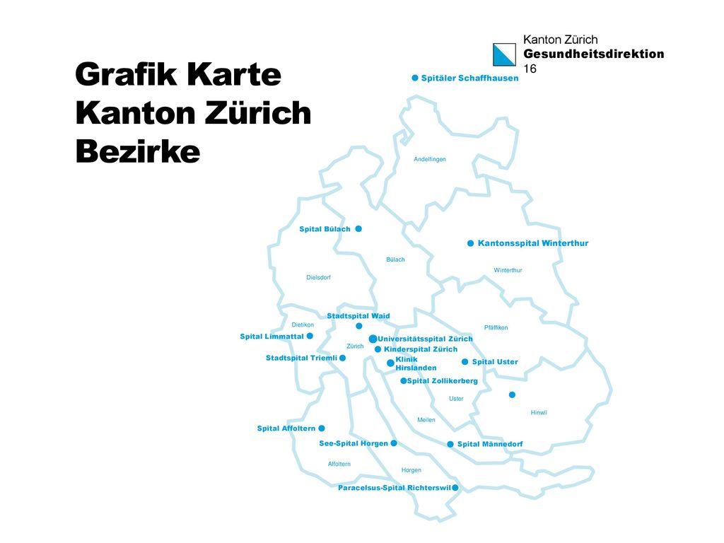 Grafik Karte Kanton Zürich Bezirke