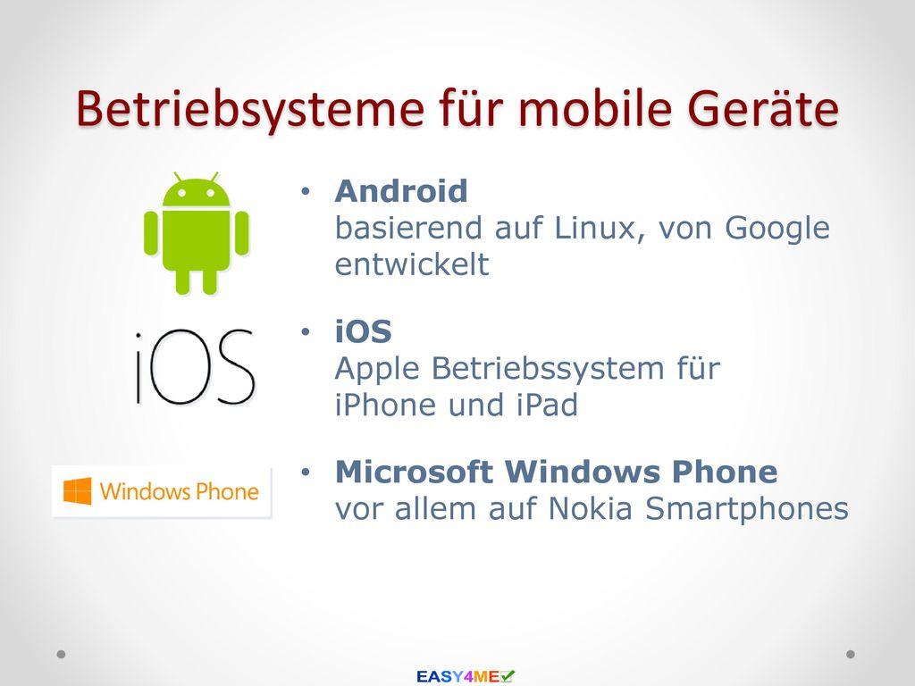Betriebsysteme für mobile Geräte