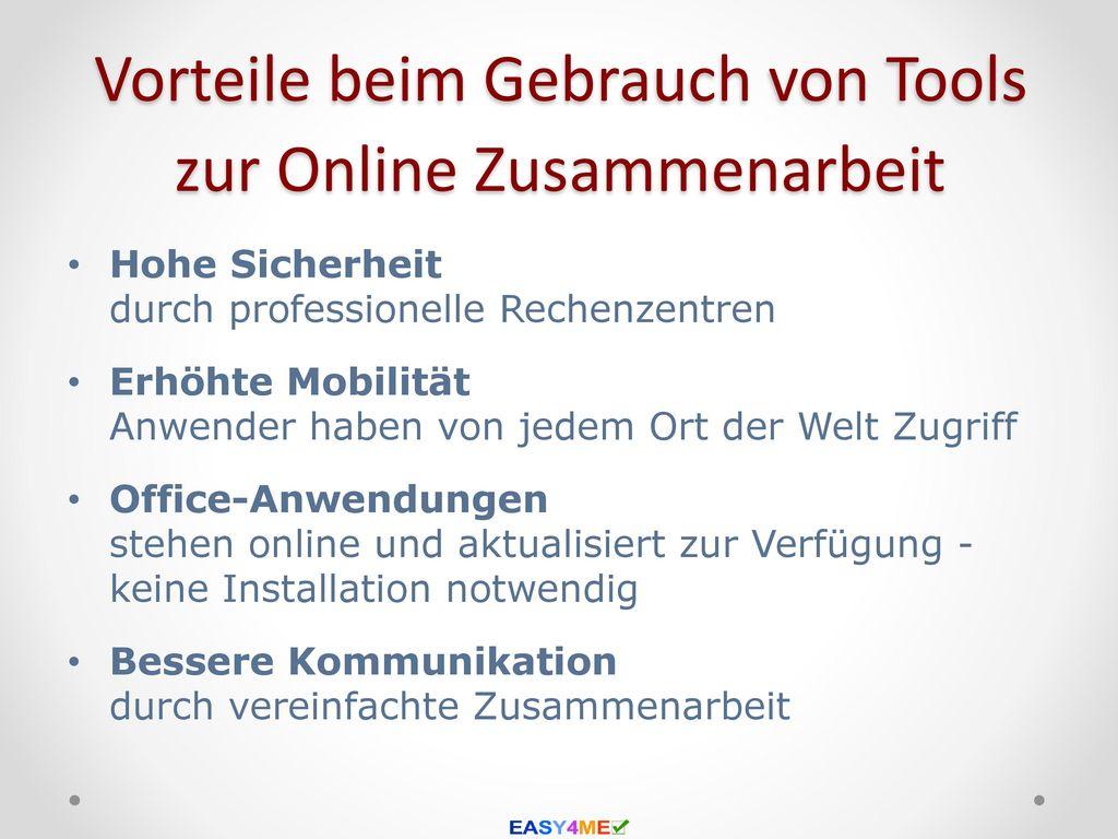 Vorteile beim Gebrauch von Tools zur Online Zusammenarbeit