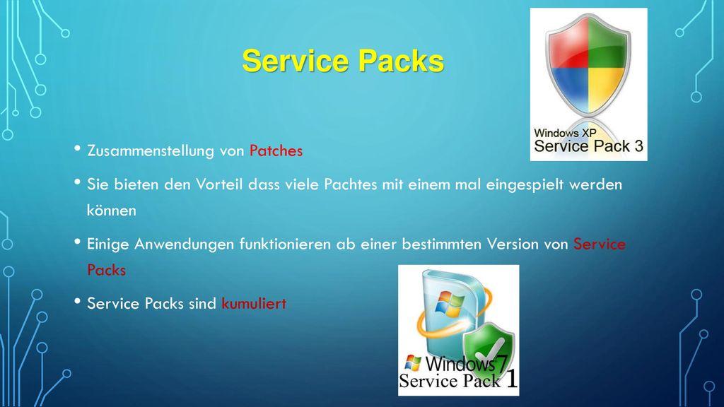 Service Packs Zusammenstellung von Patches