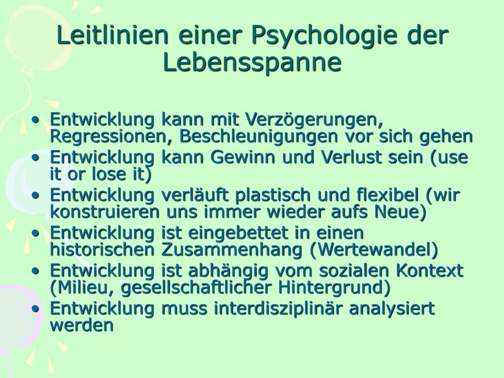 Leitlinien einer Psychologie der Lebensspanne