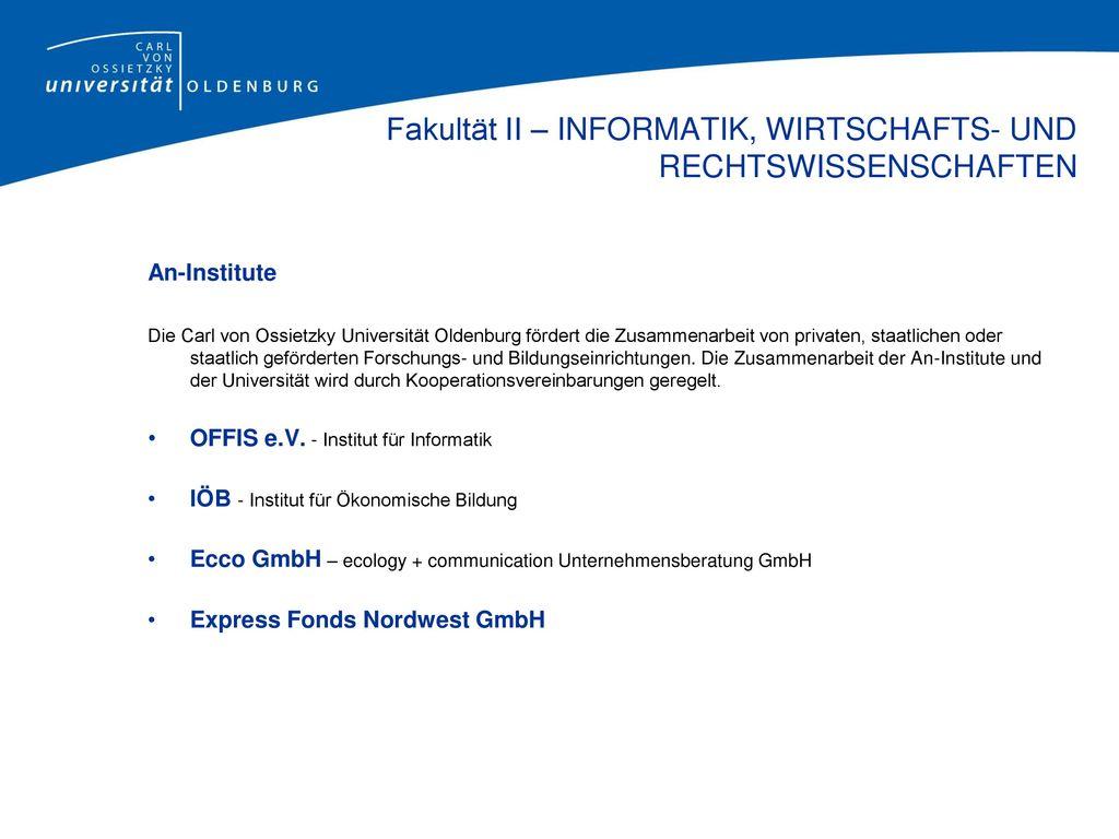Fakultät II – INFORMATIK, WIRTSCHAFTS- UND RECHTSWISSENSCHAFTEN