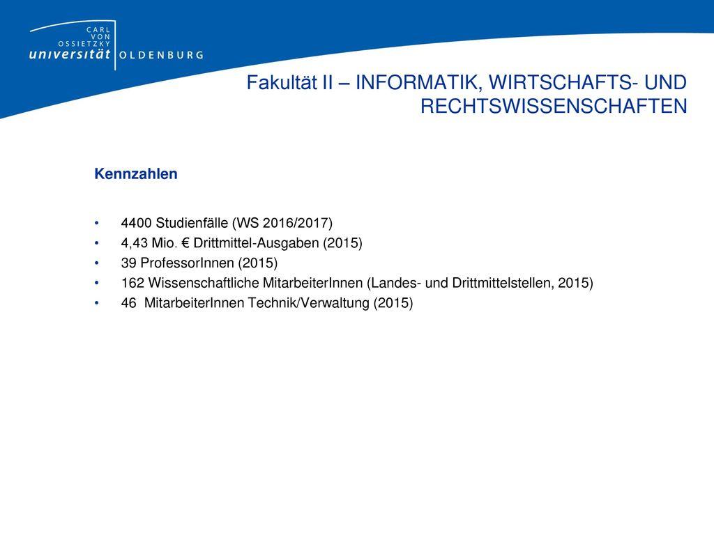 Anschrift Carl von Ossietzky Universität Oldenburg Fakultät II – Informatik, Wirtschafts- und Rechtswissenschaften Postanschrift: Paketanschrift: 26111 Oldenburg Ammerländer Heerstr.