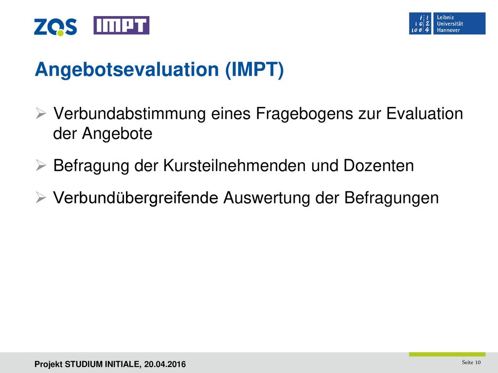 Angebotsevaluation (IMPT)