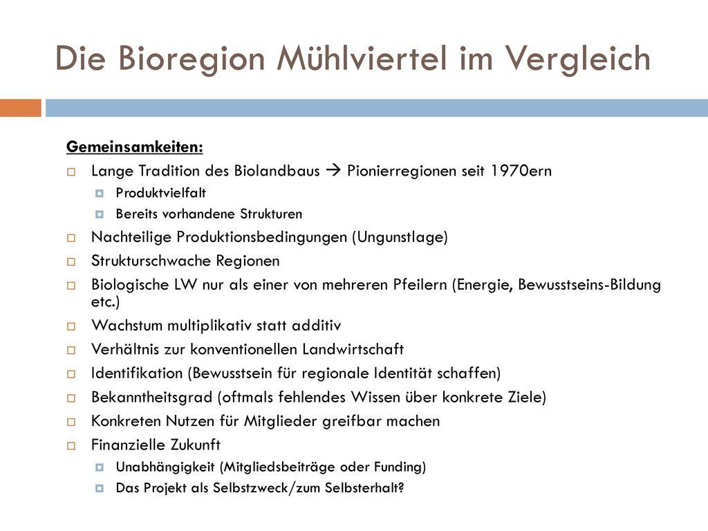 Die Bioregion Mühlviertel im Vergleich