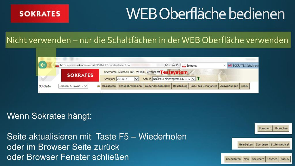 WEB Oberfläche bedienen
