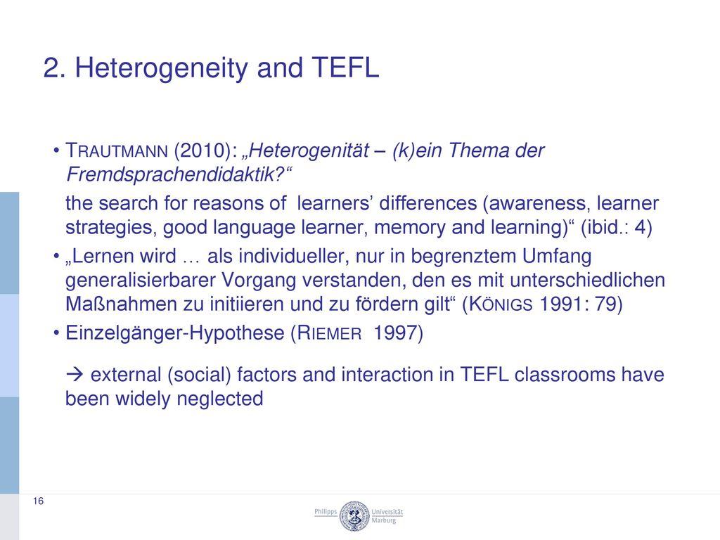 2. Heterogeneity and TEFL
