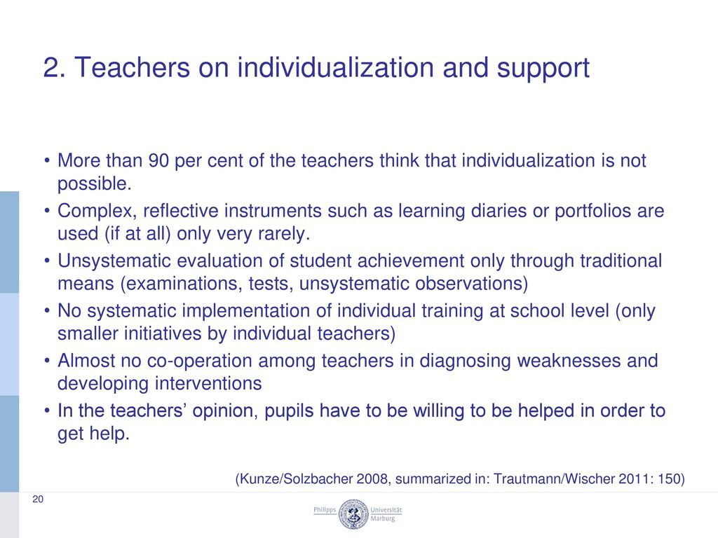 2. Teachers on individualization and support