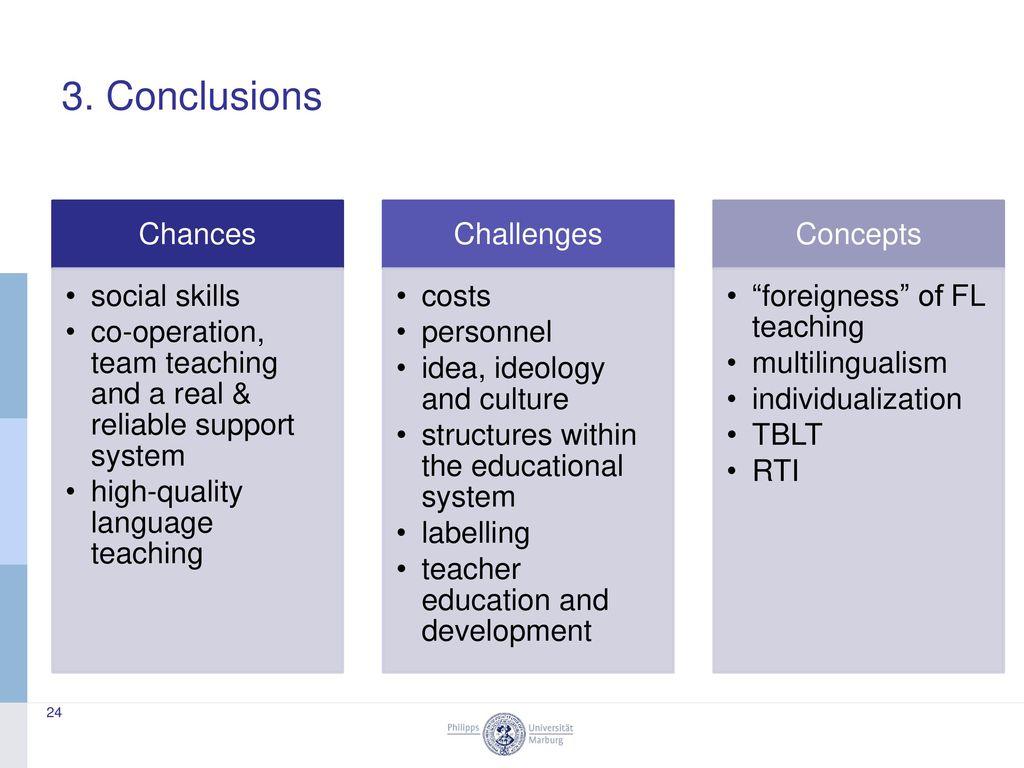 3. Conclusions Chances social skills