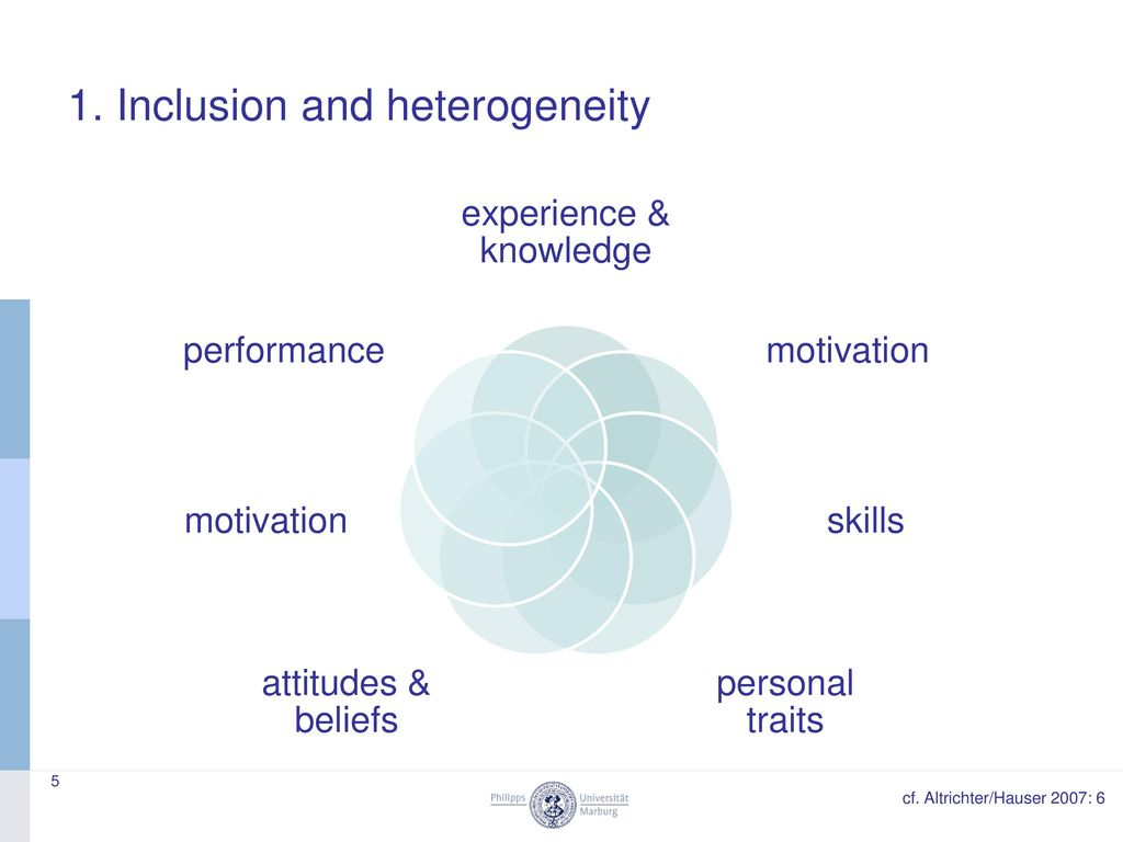 1. Inclusion and heterogeneity