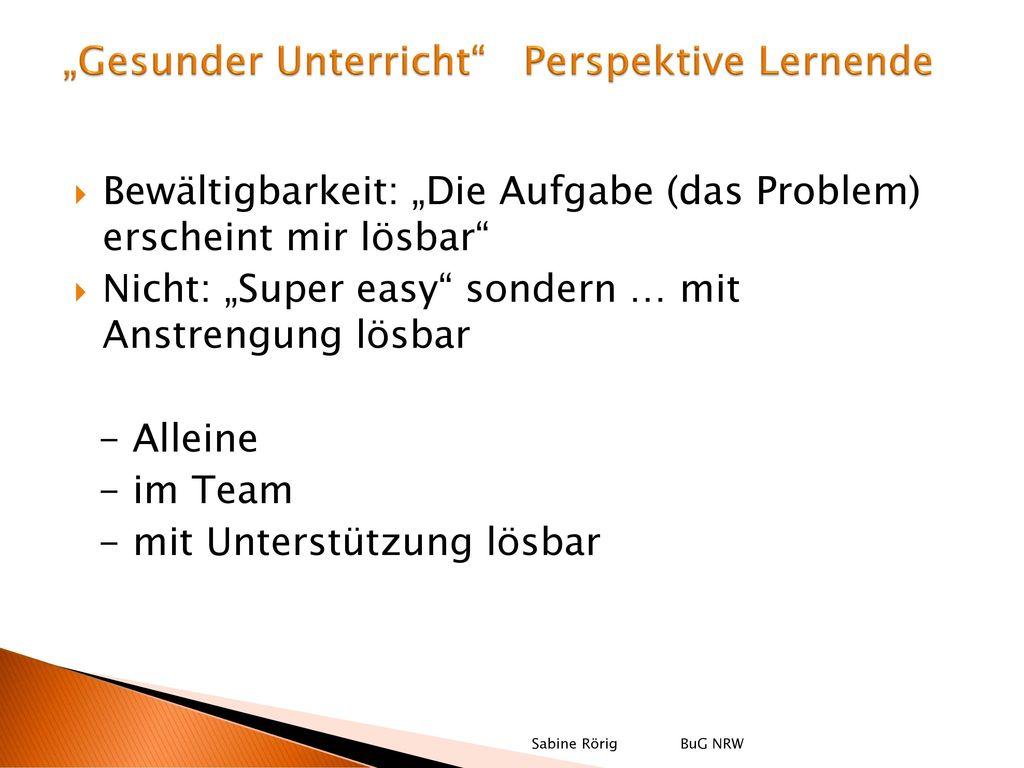 """""""Gesunder Unterricht Perspektive Lernende"""