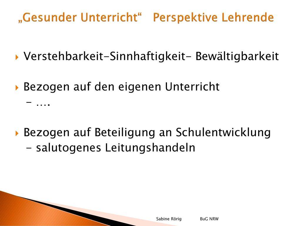 """""""Gesunder Unterricht Perspektive Lehrende"""