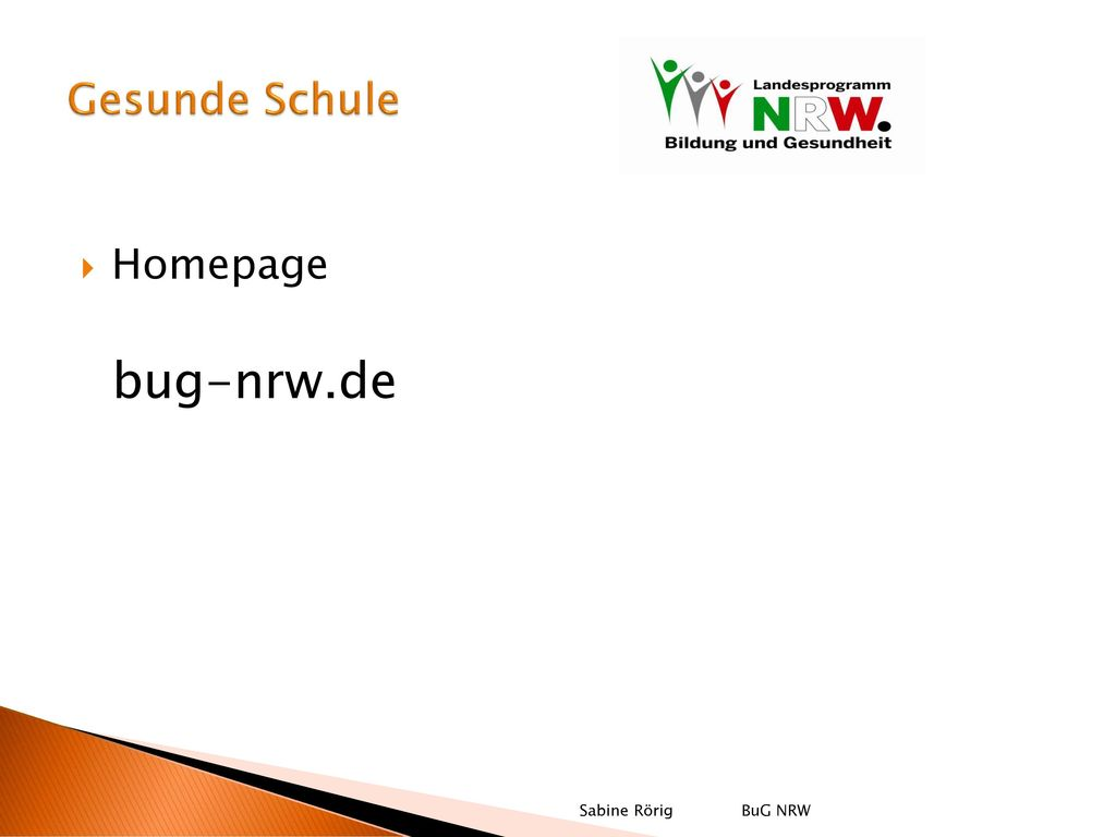Gesunde Schule Homepage bug-nrw.de Sabine Rörig BuG NRW