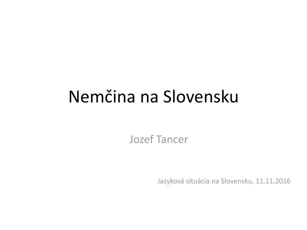 Jozef Tancer Jazyková situácia na Slovensku, 11.11.2016