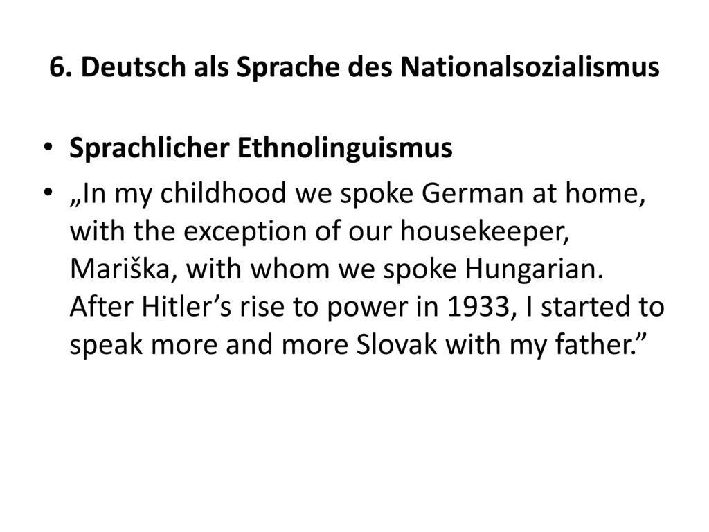 6. Deutsch als Sprache des Nationalsozialismus