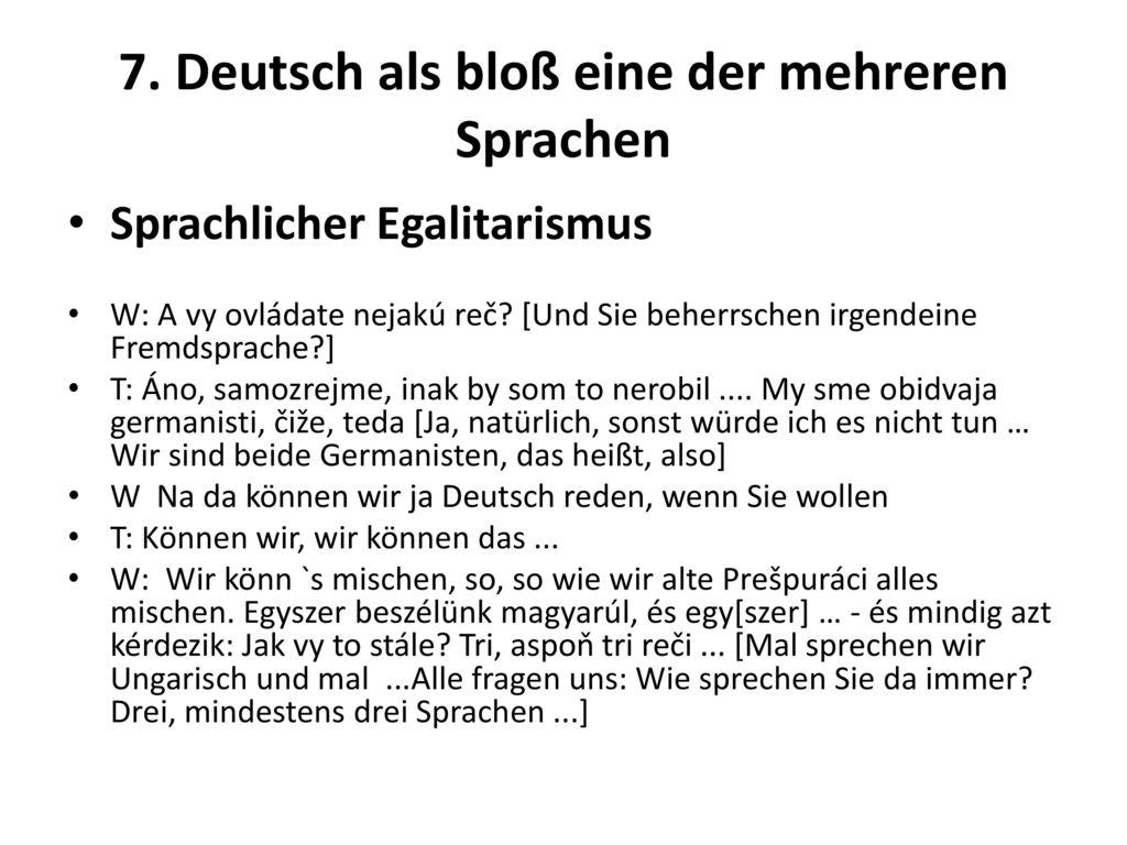 7. Deutsch als bloß eine der mehreren Sprachen