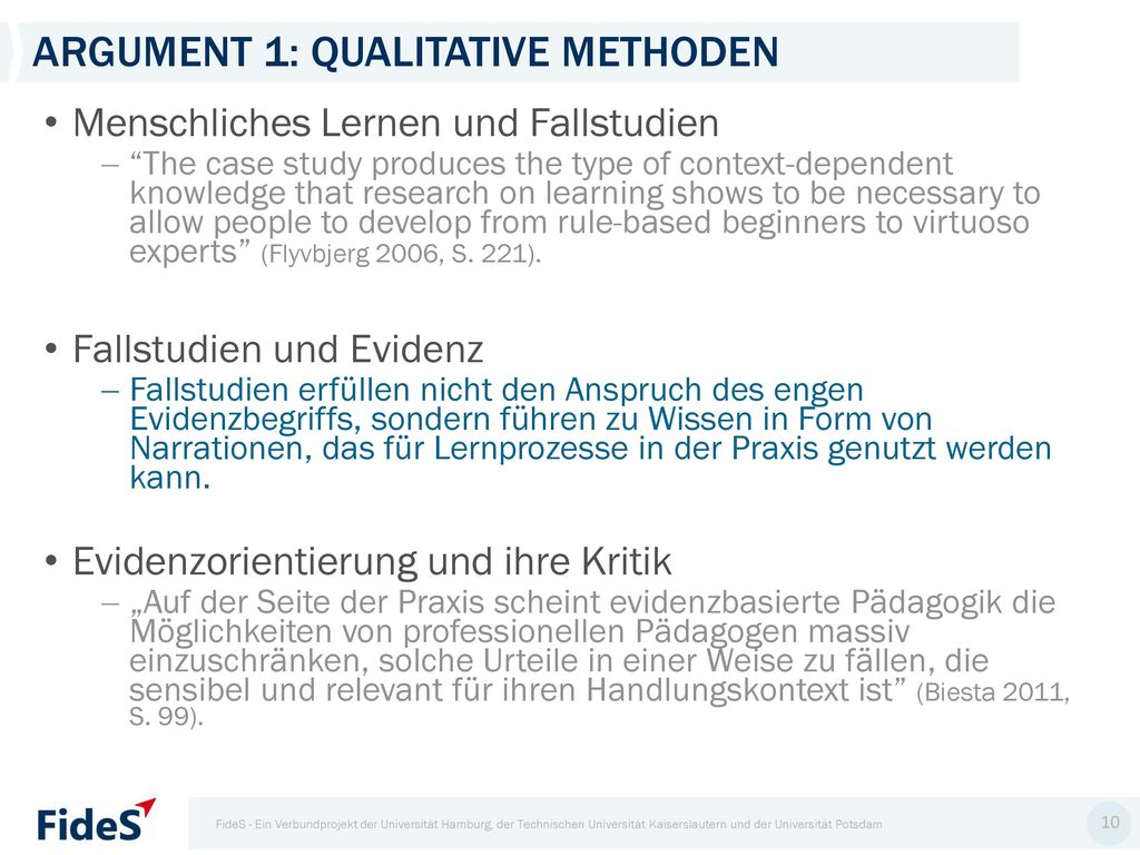 Argument 1: Qualitative Methoden