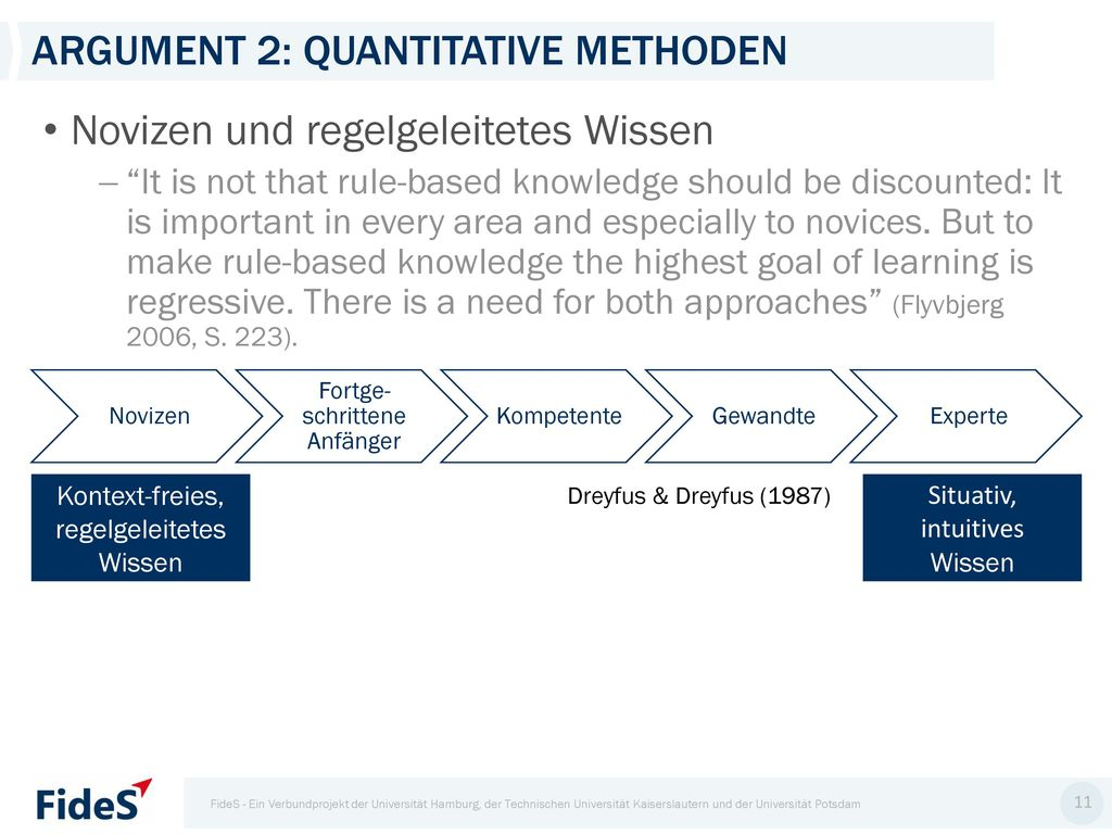 Argument 2: quantitative Methoden