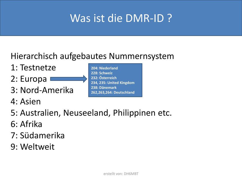 Was ist die DMR-ID Hierarchisch aufgebautes Nummernsystem