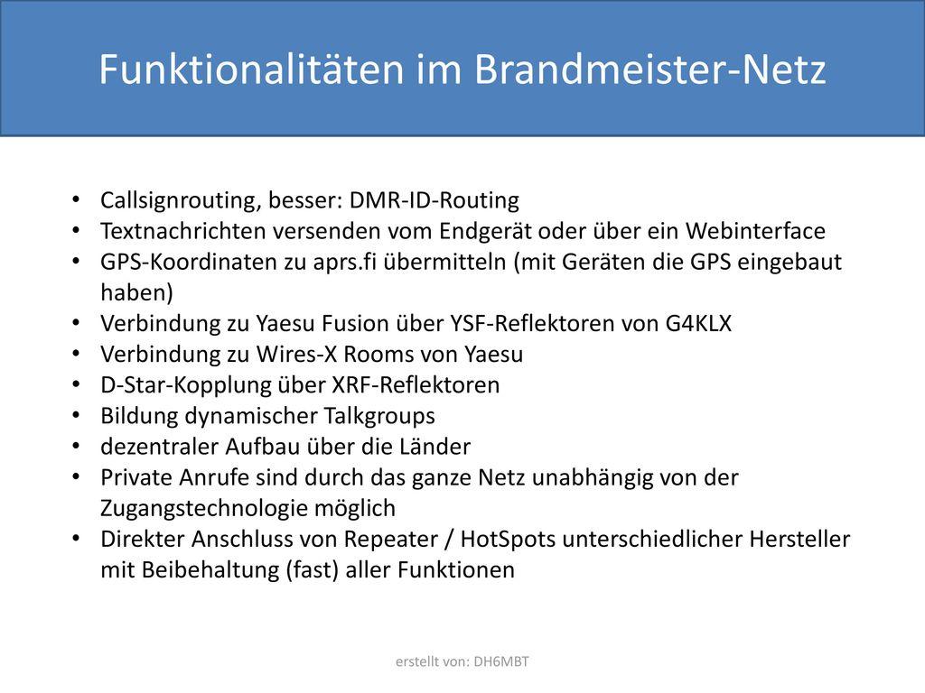 Funktionalitäten im Brandmeister-Netz