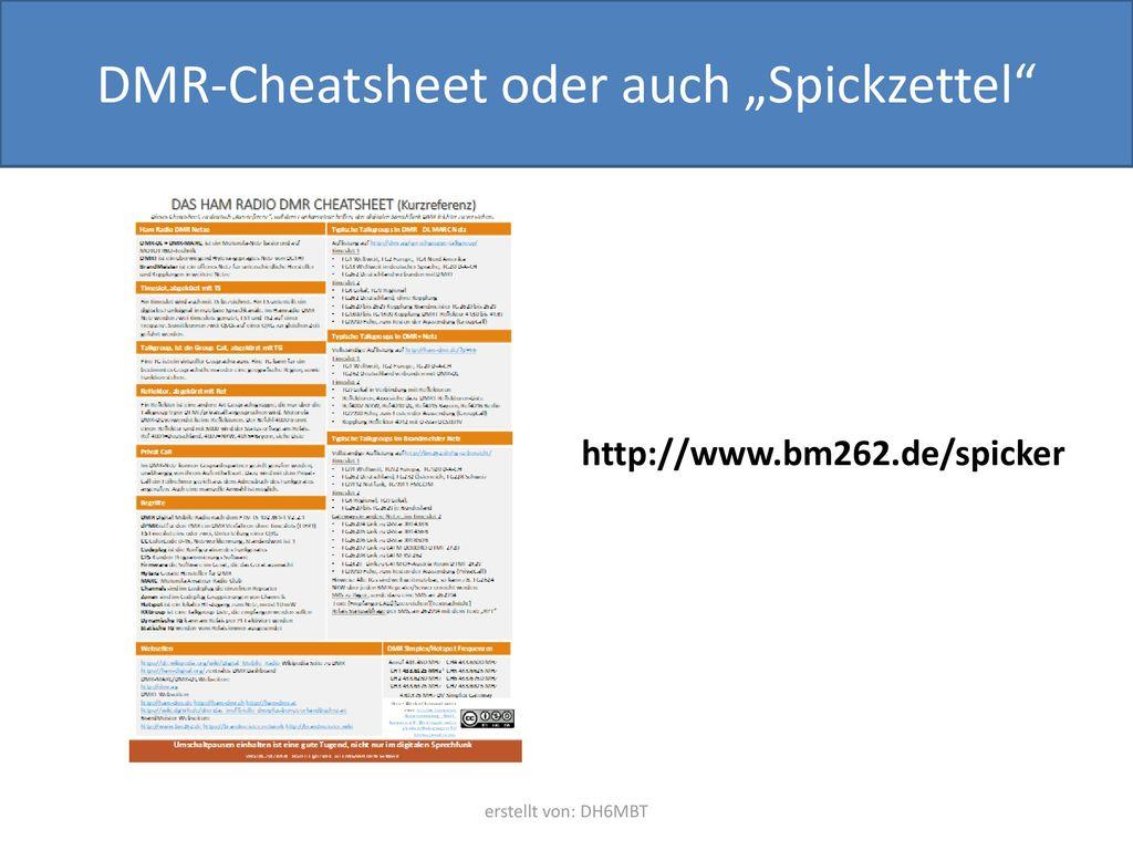 """DMR-Cheatsheet oder auch """"Spickzettel"""