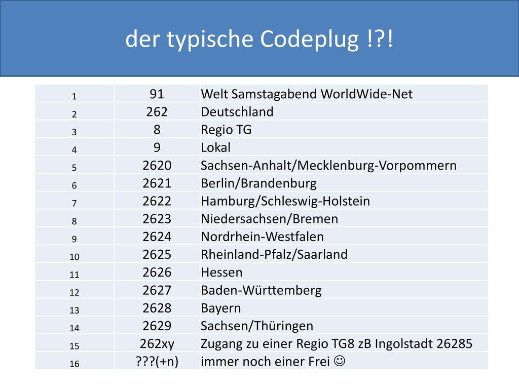 der typische Codeplug ! ! 91 Welt Samstagabend WorldWide-Net 262