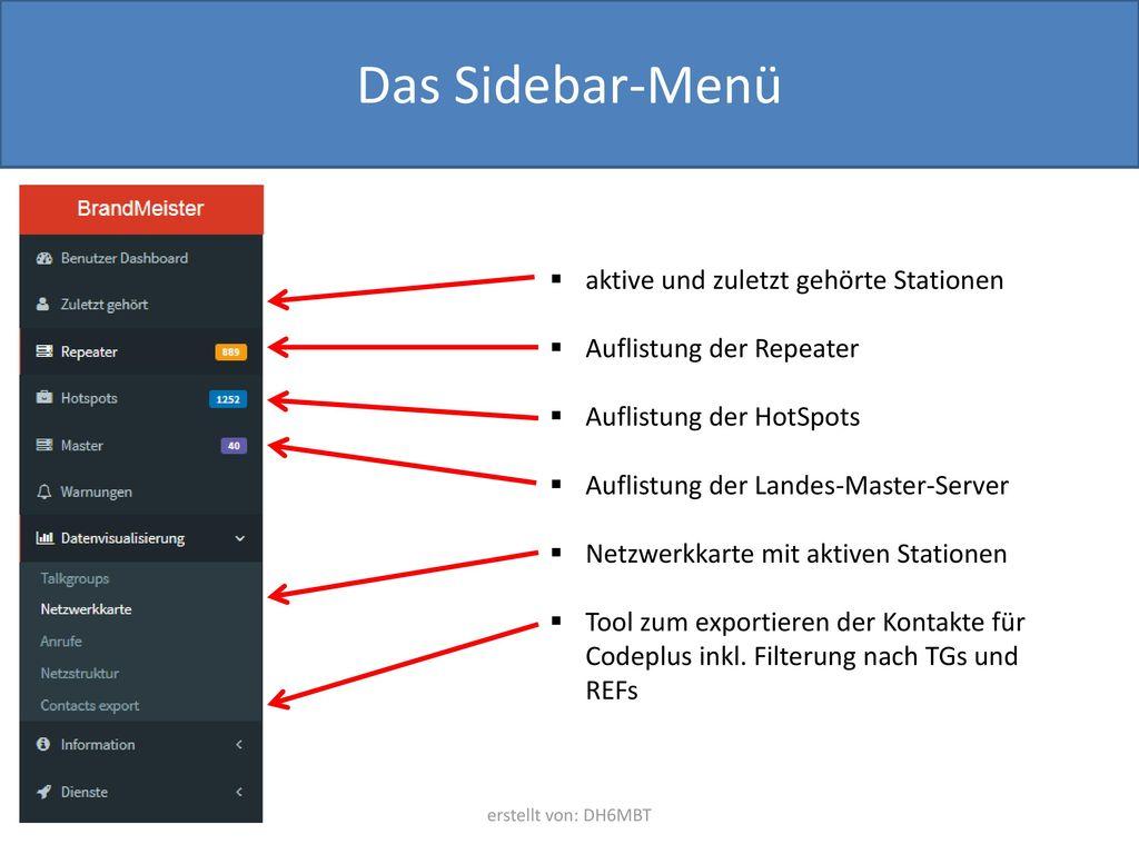 Das Sidebar-Menü aktive und zuletzt gehörte Stationen