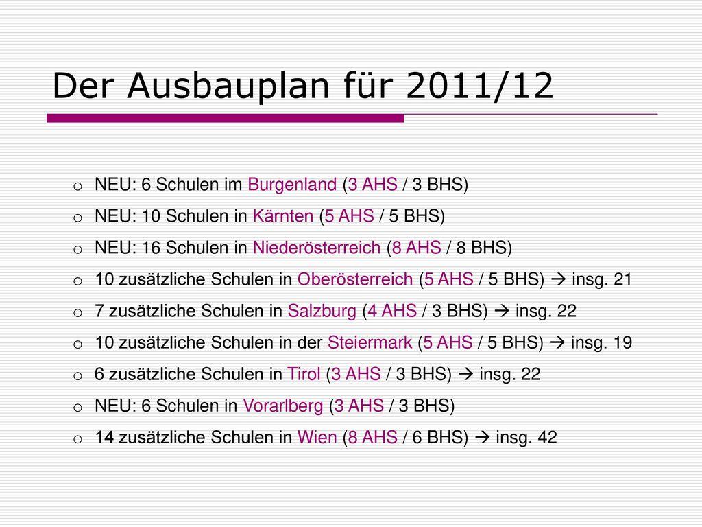 Der Ausbauplan für 2011/12 NEU: 6 Schulen im Burgenland (3 AHS / 3 BHS) NEU: 10 Schulen in Kärnten (5 AHS / 5 BHS)