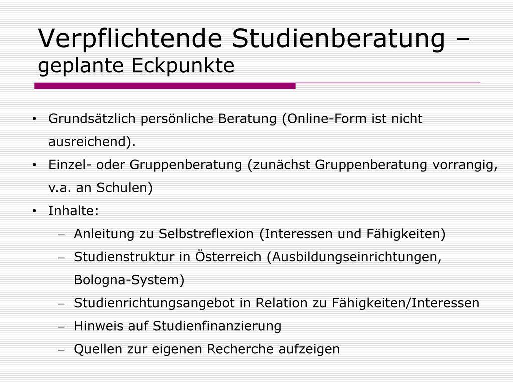 Verpflichtende Studienberatung –geplante Eckpunkte