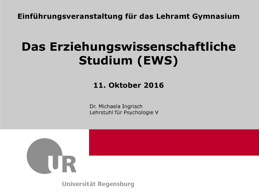 Das Erziehungswissenschaftliche Studium (EWS)