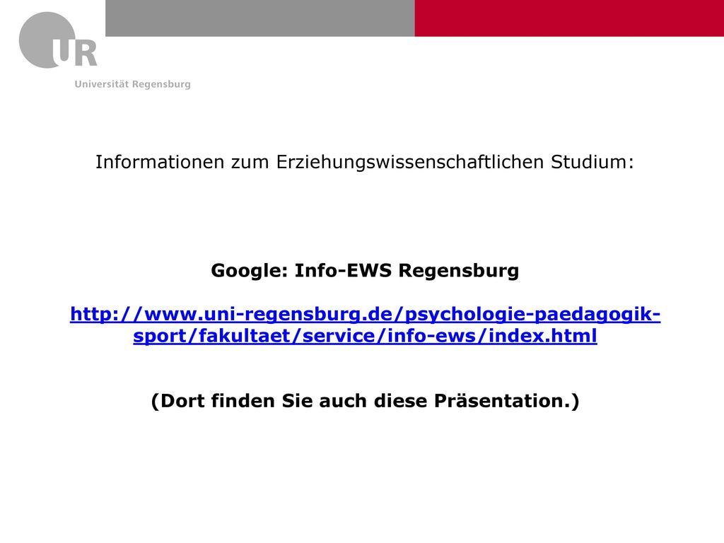 Google: Info-EWS Regensburg (Dort finden Sie auch diese Präsentation.)