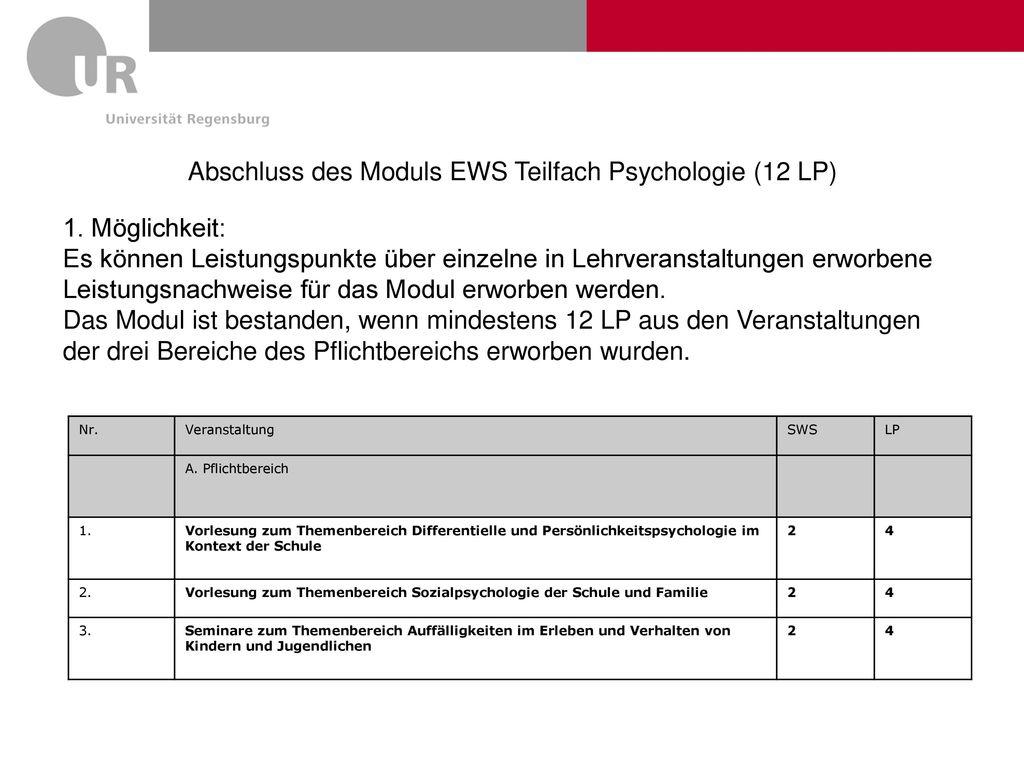Abschluss des Moduls EWS Teilfach Psychologie (12 LP)