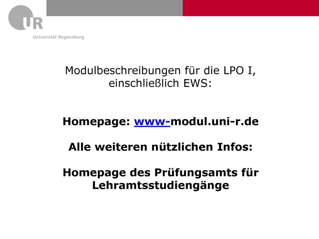 Modulbeschreibungen für die LPO I, einschließlich EWS: