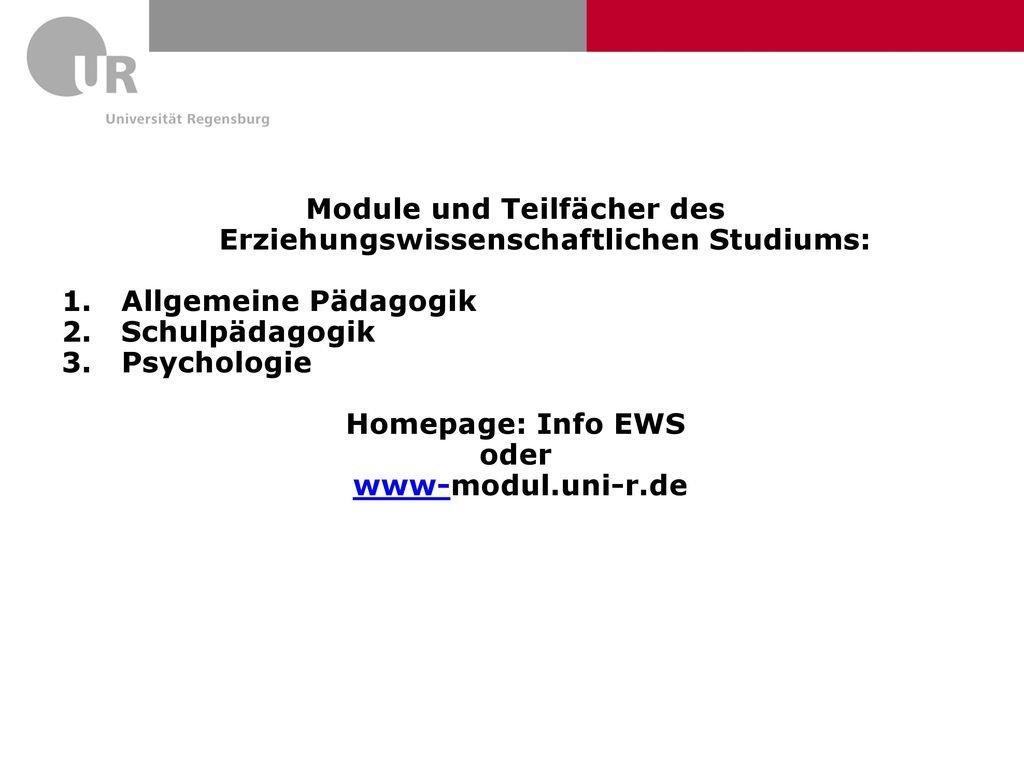 Module und Teilfächer des Erziehungswissenschaftlichen Studiums: