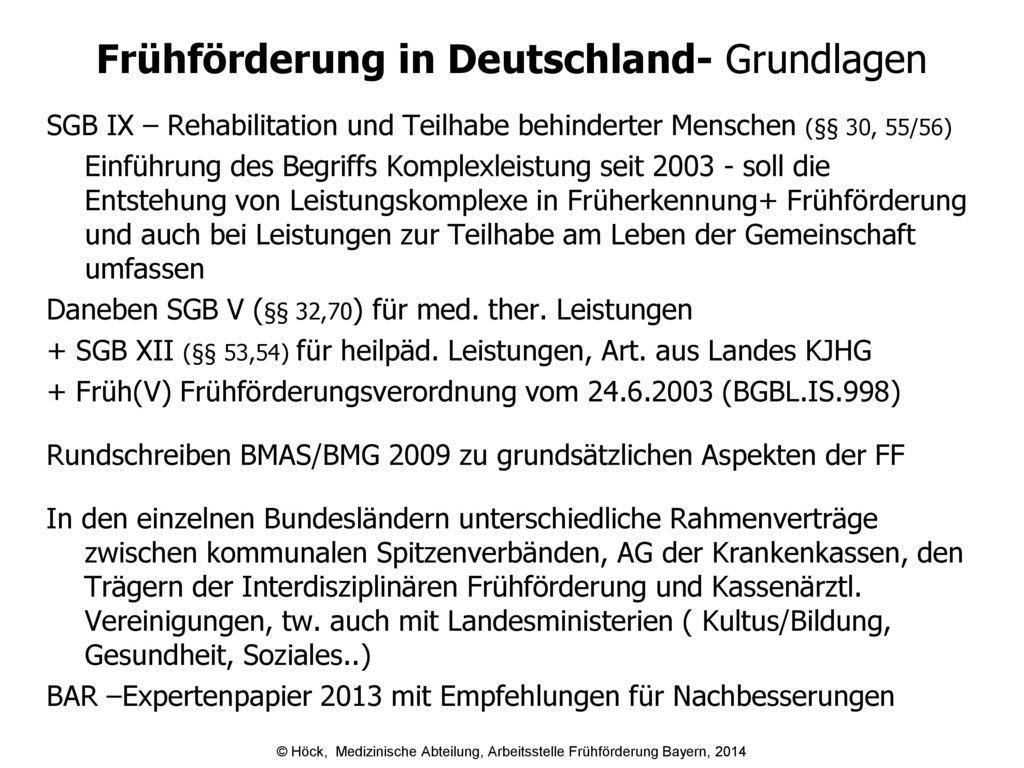 Frühförderung in Deutschland- Grundlagen