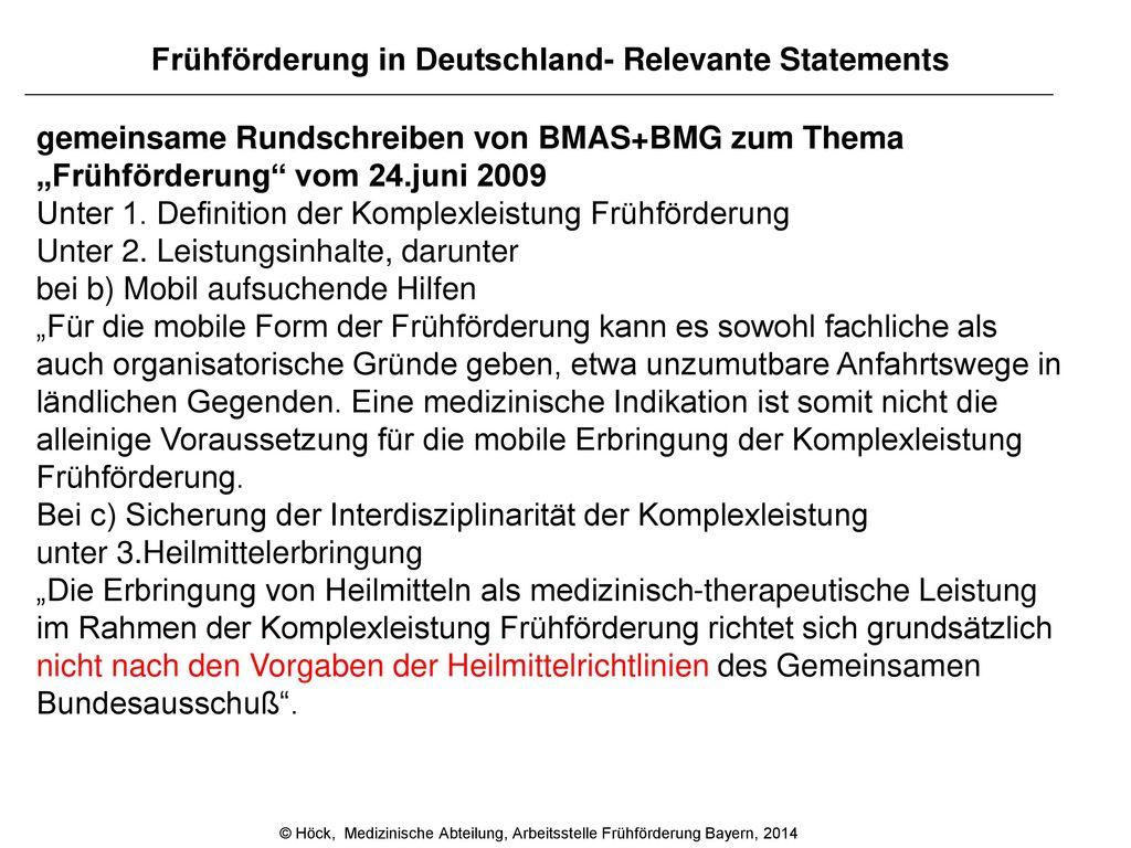 Frühförderung in Deutschland- Relevante Statements