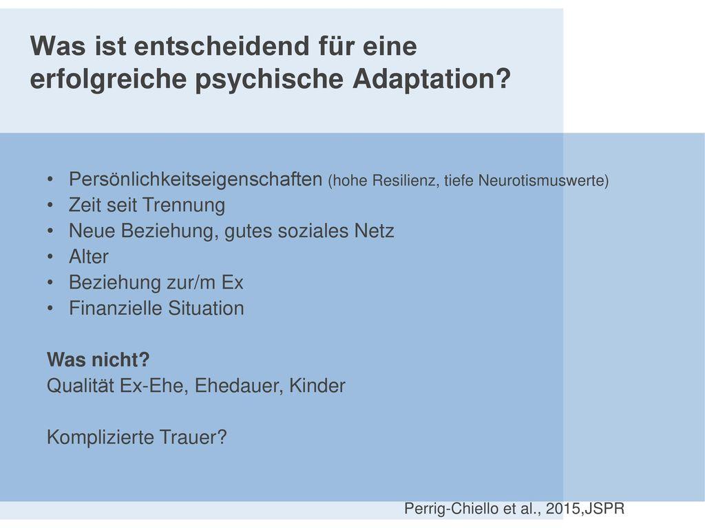 Was ist entscheidend für eine erfolgreiche psychische Adaptation